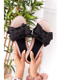Rubber Slippers With A Bow Black Gabriell - K111 BLACK