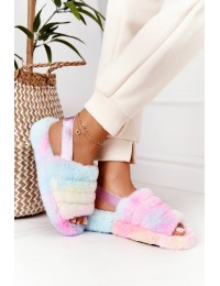 Furry Slippers On The Platform Colorful Snowflake - BG69 COLOR