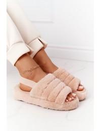 Furry Slippers On The Platform Beige Snowflake - BG69 KHAKI