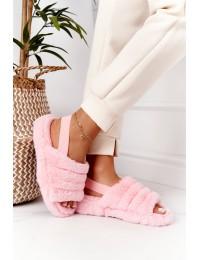 Furry Slippers On The Platform Light Pink Snowflake - BG69 L-PINK