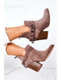 Velor Boots On A Block Heel Lewski Shoes 2880 Brown - 2880 ZIEMIA WELUR