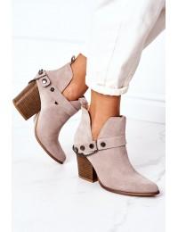 Suede Boots On A Block Heel Lewski Shoes 2880 Cappuccino - 2880 CAPPUCCINO ZAMSZ