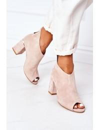 Suede Boots On A Block Heel Lewski Shoes 3044 Beige - 3044 BEŻ ZAMSZ