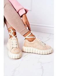 Suede Sneakers On A Platform Beige Whatever - BH9 BEIGE