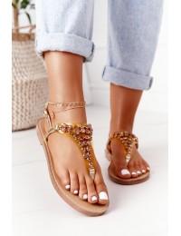 Sandals Flip-Flops With Jewelery Stones Lu Boo Golden - BB-1 GOLD