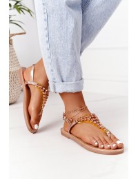 Sandals Flip-Flops With Jewelery Stones Lu Boo Champagne - BB-1 CHAMPAGNE