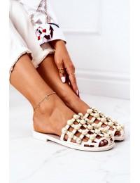 Rubber Slippers With Pearls Lu Boo Beige - Y-3 BEIGE PERLA