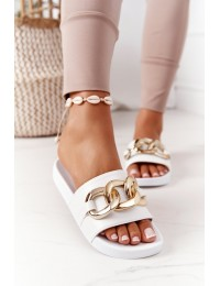 Rubber Slippers With Chain White One Moment - CK203 WHITE