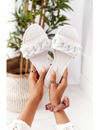 Leather Slippers With A Chain White Step By Step - CK205 WHITE