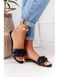Leather Slippers With A Chain Black Step By Step - CK205 BLACK