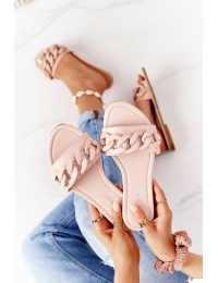 Leather Slippers With A Chain Beige Step By Step - CK205 BEIGE