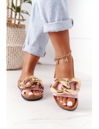 Slippers On The Cork Sole With Chain Pink Last Dance - CK201 LT.PINK