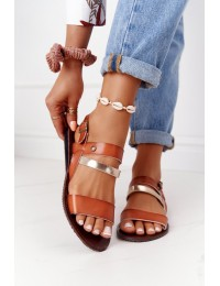 Flat Women's Sandals Camel-Gold Doris - 20SD77-1942 CAMEL-GOLD