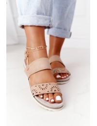 Suede Sandals With Cubic Zirconia Beige Cora - 9SD35-0991 BEIGE