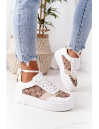 Stilingi aukštos kokybės balti batai White-Gold Allisone - B0-801 WHITE/H
