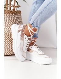Madingi sportinio stiliaus batai White-Gold Melanie - KLQS-20 WHITE GOLD