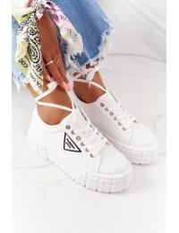 Balti stilingi bateliai su platforma White Big City Life - ZY201-9 WHITE