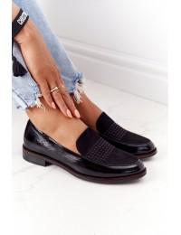 Stilingi juodos spalvos aukštos kokybės bateliai - PB254 CZARNY MIC/LAKIER