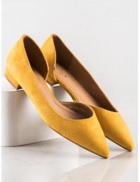Geltoni zomšiniai stilingi bateliai - MM-593Y