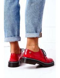 Raudoni natūralios odos stilingi batai - 04087-08/00-5 CZERWONY