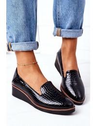 Juodi aukštos kokybės odos stilingi batai - 21-10675 BLACK
