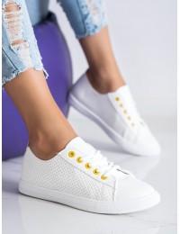 Balti ažūriniai minkštos odos stilingi bateliai\n - LA43Y