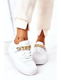 Stilingi balti batai papuošti grandinėle - B0-808 WHITE/H