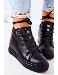 Juodi stilingi aukštos kokybės Big Star batai su platforma - EE274127 BLACK