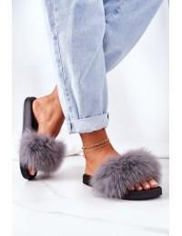 Stilingos patogios šlepetės su natūraliu puriu kailiuku\n - WB01 DK.GREY