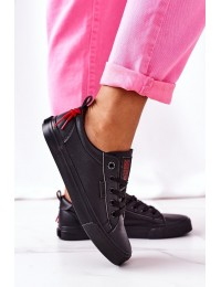 Women's Leather Sneakers BIG STAR GG274161 Black - GG274161 BLACK