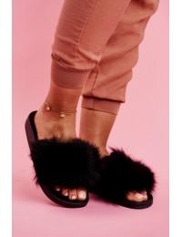 Stilingos patogios šlepetės su natūraliu puriu kailiuku\n - WB01 BLACK