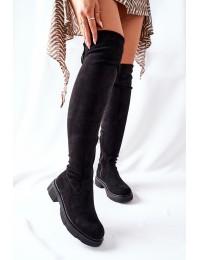Juodos spalvos zomšiniai aukštos kokybės botfortai\n Black Selina - YK09 BLACK