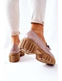 Natūralios odos Laura Messi aukštos kokybės stilingi batai - 2339 620 CAPPUCCINO