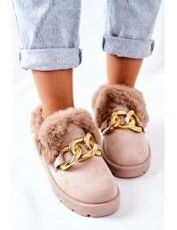 Stilingi šilti išskirtinio dizaino batai su kailiuku - JX83 BEIGE