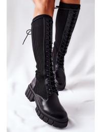 Stilingi juodos spalvos ilgaauliai elastingu aulu - QT13 BLK