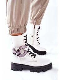 Madingi išskirtinio dizaino balti batai - L13107-8 WHITE