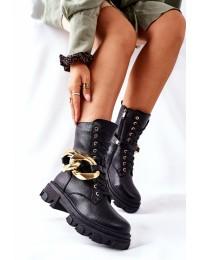 Madingi išskirtinio dizaino juodi batai - L13107-8 BLK