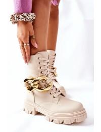 Šviesios smėlio spalvos madingi patogūs batai - L13107-8 BEIGE