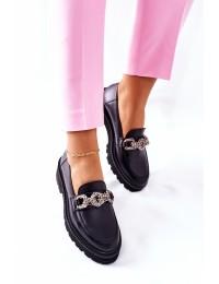 Natūralios odos Laura Messi stilingi aukštos kokybės batai - 2383 100 BLK