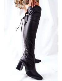 Juodi natūralios odos stilingi batai virš kelių - 3063 BLK