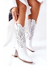 Natūralios odos balti kaubojiško stiliaus batai - 2923/B WHITE