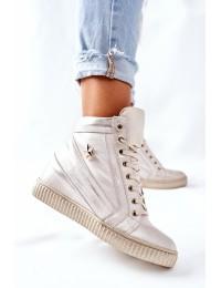 Natūralios odos stilingi aukštos kokybės batai su platforma - 3079 GOLD