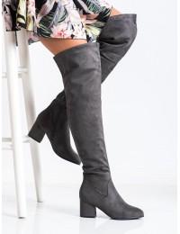 Pilki zomšiniai ilgi batai batai virš kelių - RB37G