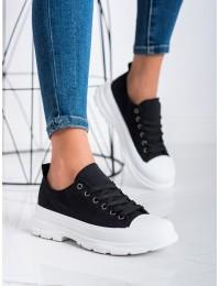 Juodi šiuolaikiško dizaino stilingi patogūs batai - F036B-B