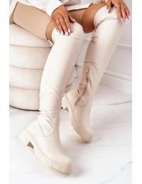 Smėlio spalvos odiniai aukštos kokybės botfortai - YK10BE
