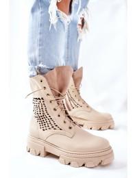 Natūralios odos aukštos kokybės stilingi auliniai batai - 2436 BEIGE