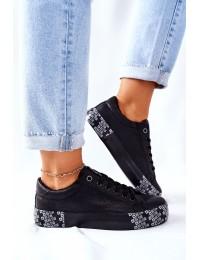 Stilingi juodi BIG STAR batai su platforma - II274183 BLK