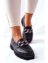 Natūralios odos aukštos kokybės madingi batai Black Sthonto - 2686/056 BLACK