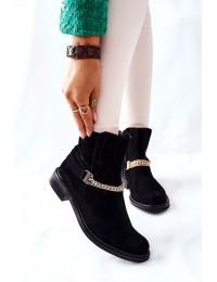 Juodi nubuko odos itin aukštos kokybės stilingi Nicole aulinukai - 2678/028 BLACK