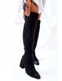 Elegantiški juodi zomšiniai ilgaauliai - 22-10623 BLK